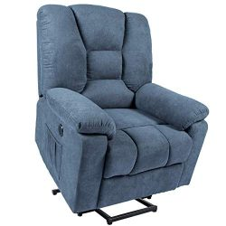 Mellcom Electric Power Lift Massage Recliner Chair Fabric Sofa with Massage,Heat and Vibration w ...