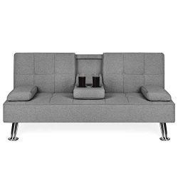 Best Choice Products Linen Upholstered Modern Convertible Folding Futon Sofa Bed w/Metal Legs, 2 ...