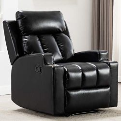 ANJ Chair Recliner Contemporary Theater Recliner with 2 Cup Holders Black