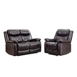 Romatlink Living Room PU Leather Sofa Combination Designs Loveseat Recliner Manual Reclining Sof ...