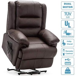DEVAISE Dual-Motor Power Lift Recliner Chair for Elderly, Living Room Sofa Chair with Remote Con ...