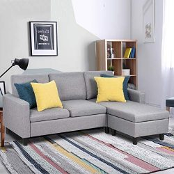 JY QAQA Sectional Sofa Couch Convertible Chaise Lounge, Modern Sofa Set for Living Room, L-Shape ...