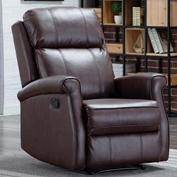 CANMOV Manual Leather Recliner Chair, Classic and Traditional Reclining Chair with Round Arms an ...