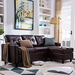 HONBAY Convertible Sectional Sofa Couch Leather L-Shape Couch with Modern Faux Leather Sectional ...