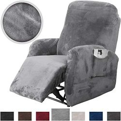 Rose Home Fashion RHF 4 Separate Piece Velvet Recliner Slipcovers, Recliner Chair Cover, Recline ...