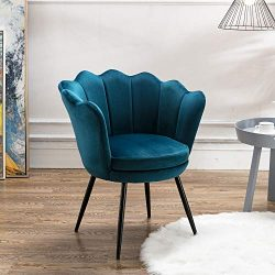 Velvet Accent Chair for Living Room/Bed Room, Upholstered Mid Century Modern Leisure Arm Chair w ...