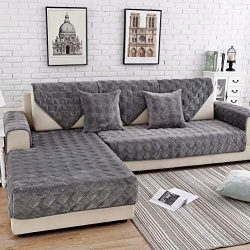 Deep Dream Sectional Sofa Covers, Velvet Sofa Slipcover Protector Anti-Slip Couch Covers for Dog ...