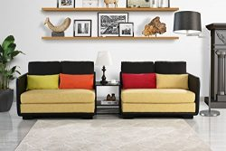 Classic 2 Piece Colorful Convertible Living Room Sofa, Adjustable Couch (Black/Yellow)