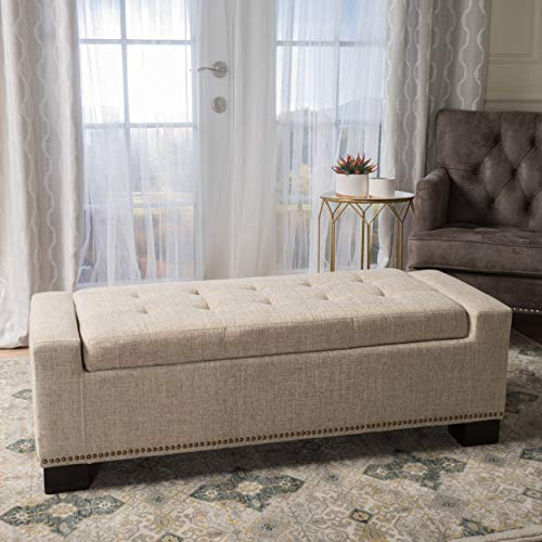 Christopher Knight Home 300165 Living Espana Wheat Fabric Storage Ottoman w/Studs