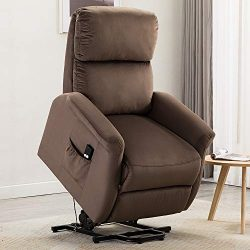 Bonzy Home Power Lift Recliner Chair, 3 Position & Side Pocket, Soft Fabric Sofa with Remote ...