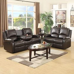 mecor Bonded Leather Sofa Recliner 2 PC,Living Room Reclining Sofa Furniture (2 Seat+3 Seat, Brown)