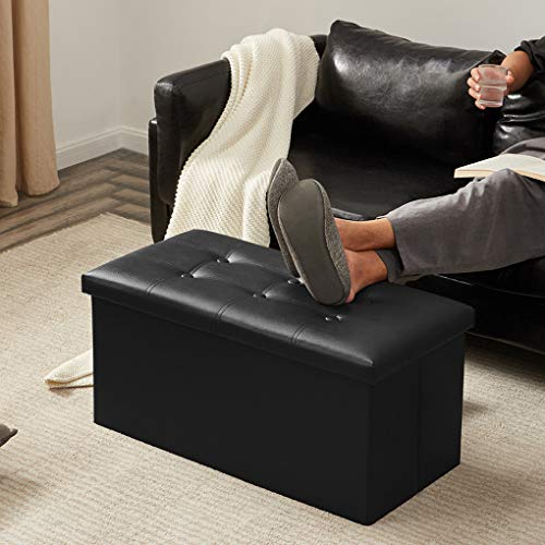 YOUDENOVA 30 inches Folding Storage Ottoman, 80L Storage Bench for Bedroom and Hallway, Faux Lea ...