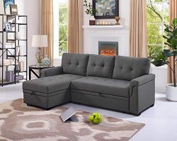 LILOLA Lucca Steel Gray Linen Reversible Sleeper Sectional