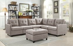 DAZONE Modular Sectional Sofa Assemble 7-Piece Modular Sectional Sofas Bundle Set Cushions, Easy ...