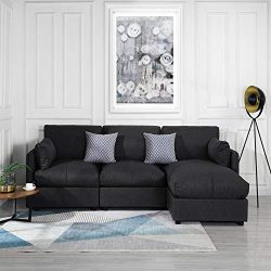Grey Upholstered Linen Sectional Sofa Couch Modern L Shape Sectional, Sectional Sofas and Couche ...