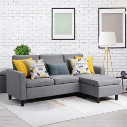 Walsunny Convertible Sectional Sofa Couch with Reversible Chaise, L-Shaped Upholstered Couch wit ...
