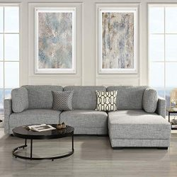 Modular Sectional Sofa Couch Convertible Sofa Sectional with Reversible Chaise Ottoman 3 Piece ( ...