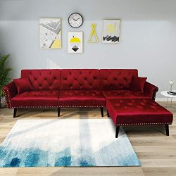SEAPHY Modern Large Velvet Fabric Sectional Sofa L-Shaped Corner Sofa Couch Sofa Bed Set with Re ...