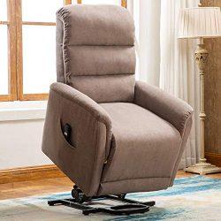 ANJ Power Lift Recliner Lift Chair with Antiskid Fabric for Elderly Light Gray