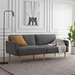 Mopio Chloe Convertible Futon Couch Bed, Fabric Tufted Modern Sofa Sleeper with Tapered Wood Leg ...