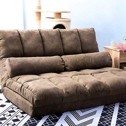 MIERES Double Chaise Lounge Sofa Chair Floor Couch with Two Pillows (Brown)