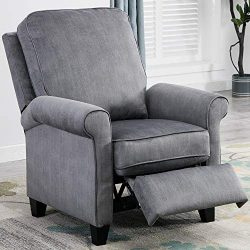 Bonzy Home Push Back Recliner Chair Roll Arm Easy Push Home Theater Seating with Thick Seat Cush ...