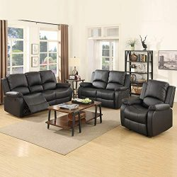 mecor 3 Piece Sofa Set Bonded Leather Motion Sofa Reclining Sofa Chair Living Room Furniture wit ...