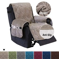 H.VERSAILTEX Quilted Velvet Plush Recliner Slipcover Recliner Chair Cover Recliner Covers for La ...