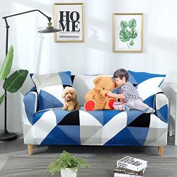 ChicCovers Loveseat Couch Cover for 2 Seat Sofa Cushion | Printed Elastic Slipcover Furniture Pr ...