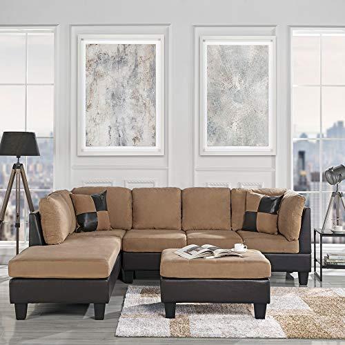 Casa Andrea Modern 3-Piece Microfiber and Faux Leather Sofa and Ottoman Set, 102″ W (Hazelnut)