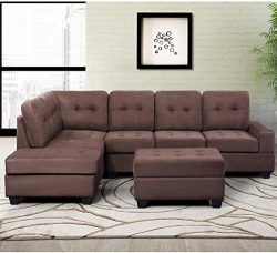 MOOSENG, 3 Piece Sectional Microfiber with Reversible Chaise Lounge Storage Ottoman and Cup Hold ...