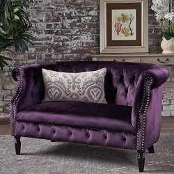 Christopher Knight Home 302212 Melaina BlackBerry Tufted Rolled Arm Velvet Chesterfield Loveseat ...