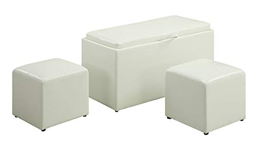 Convenience Concepts Designs4Comfort Sheridan Faux Leather Storage Bench with 2 Side Ottomans, W ...