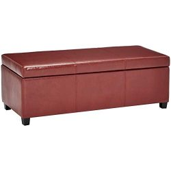 First Hill Damara Lift-Top Storage Ottoman Bench with Faux-Leather Upholstery, Large, Earthy Red