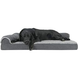 Furhaven Pet Dog Bed | Deluxe Orthopedic Two-Tone Plush Faux Fur & Suede L Shaped Chaise Lou ...