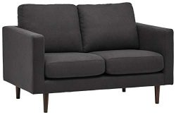 Rivet Revolve Modern Upholstered Loveseat Sofa, 56″W, Storm Grey