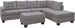 MOOSENG, 3-Piece Living Room Furniture Set with Chaise Lounge and Storage Ottoman L Shape Couch  ...