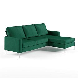 Novogratz Chapman Sectional Chrome Legs, Green Sofa