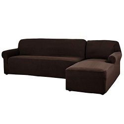 CHUN YI 2 Pieces L-Shaped 3 Seats Jacquard Polyester Stretch Fabric Sectional Sofa Slipcovers Du ...