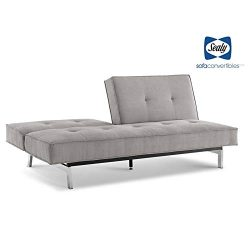 Sealy Anson Transitional Split-Back Convertible Microfiber Sofa in Gray