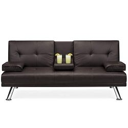 Best Choice Products Modern Faux Leather Convertible Futon Sofa Bed Recliner Couch w/Metal Legs, ...