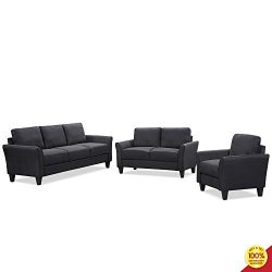 3 Pieces Living Room Sofa Furniture Set, Sectional Armrest Chairs for Single, Two-Seats and Thre ...