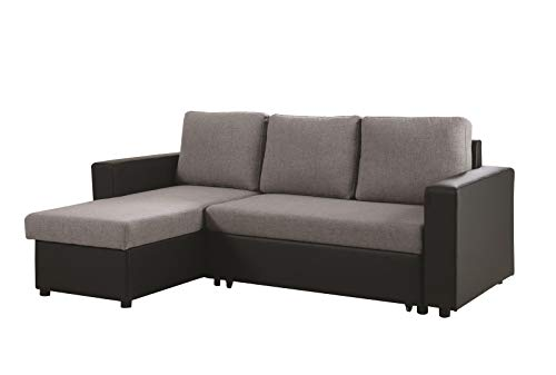 Coaster Home Furnishings Everly Reversible Sleeper Sectional Sofa Grey and Black