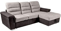 Homelegance Alfio Sectional Sofa with Pull-Out Bed and Hidden Storage, 99″W, Two-Tone Choc ...