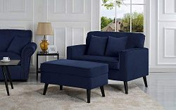 Casa Andrea Milano Modern Velvet Upholstered Lounge Accent Chair – Dark Blue Single Seater ...