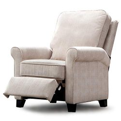 ANJ Pushback Recliner, Manual Recliner Chair with Thickness Cushion, Cream