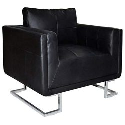 mewmewcat Armchair Luxury Leather Cube Armchair with Chrome Feet Sleeper Chairs Recliner Sofa Ar ...