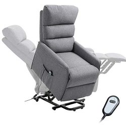 HOMCOM Power Lift Assist Recliner Chair for Elderly with Wheels and Remote Control, Linen Fabric ...