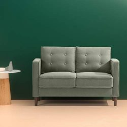 Zinus Lauren Mid-Century Upholstered 52 Inch Sofa Couch / Loveseat, Pear Green