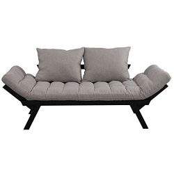 HOMCOM Click Clack Couch, Convertible Futon Sleeper Sofa Bed, Modern, Linen Fabric, 61″ L  ...